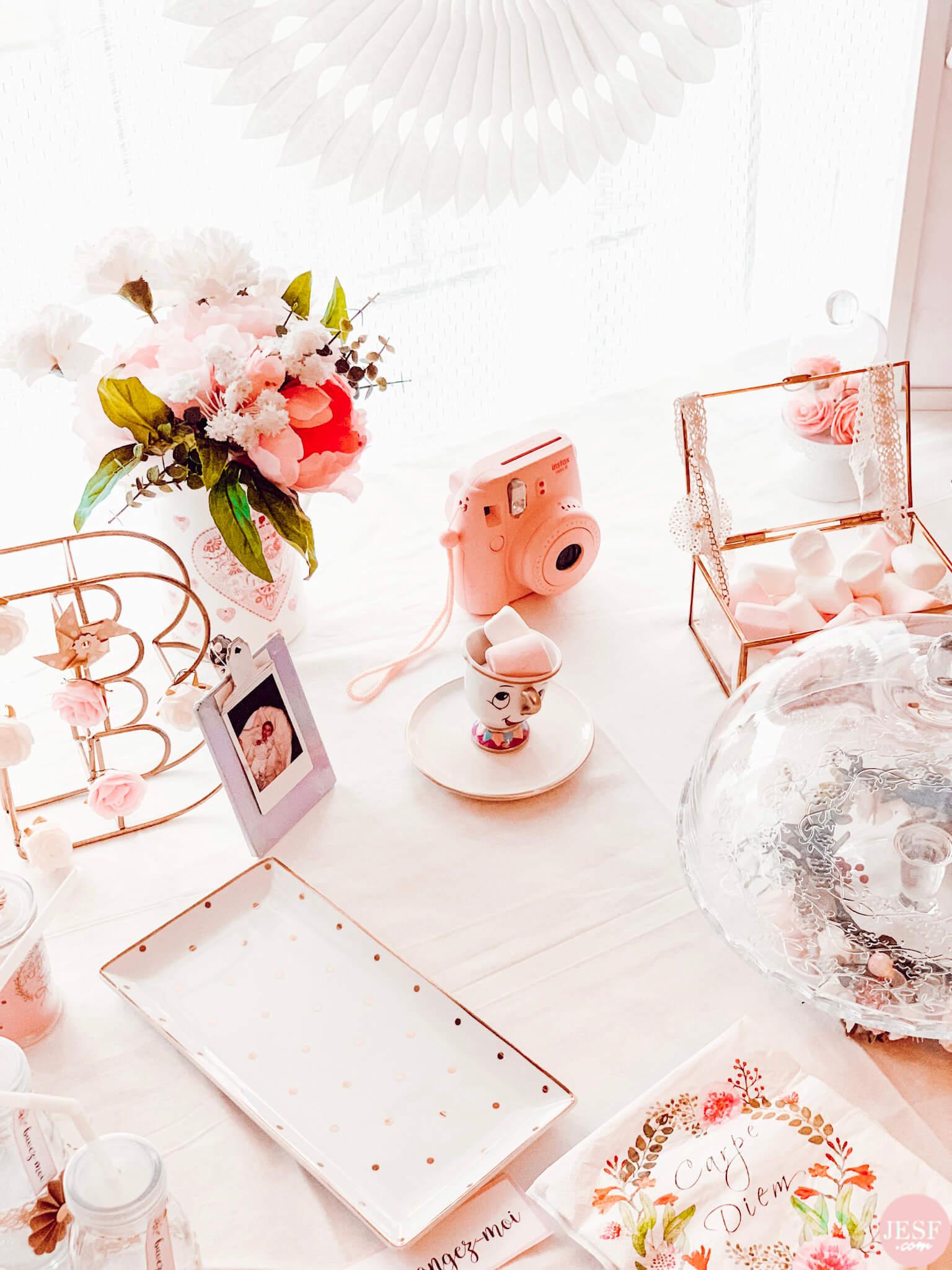fête-anniversaire-sweet-table-petite-fille-1-an-girly-rose-féérique