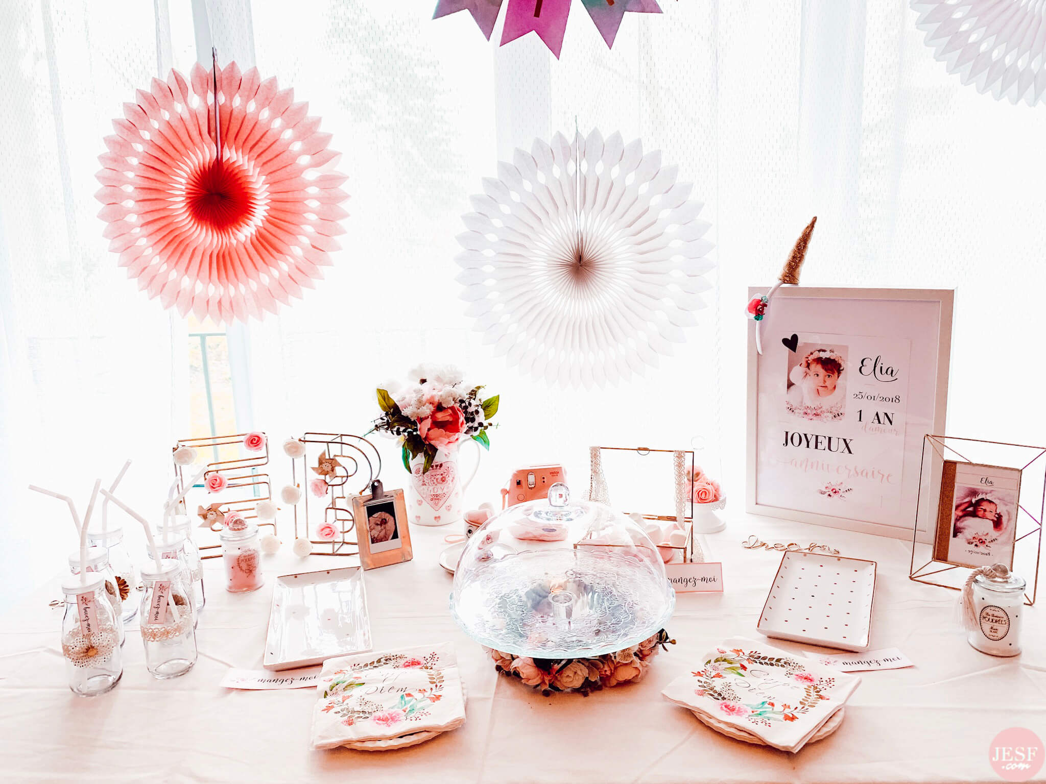 fête-anniversaire-sweet-table-petite-fille-1-an-girly-rose-or-birthday